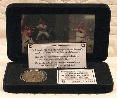 1998 Mark McGwire 62nd Home Run Motion Card & Medallion, Solid Nickel Silver,COA