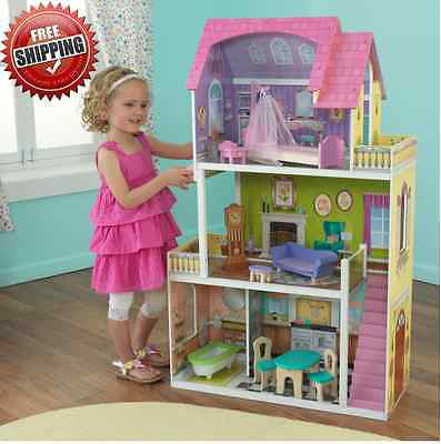Dollhouse Barbie Size w/ Furniture Wooden Girls Doll Playhouse Play House Gift