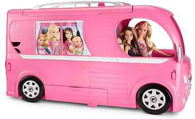 Barbie Pop Up Camper Van Play Set Vehicle Pink Pool Slide RV Toys Kids Car Girls