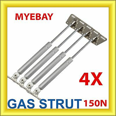 4 X Cabinet Gas Strut Spring Overhead Lid Kitchen Door Flap Stay Handle 150N