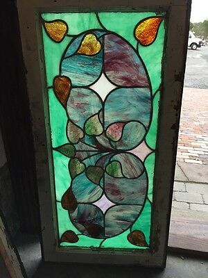 Sg 359 Antique Very Colorful Floral Transom Window