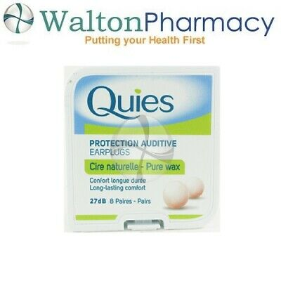 Quies Pure Natural Wax Ear Plugs Earplugs Protection 8 pairs noise reduction