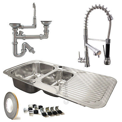 1.5 Bowl Stainless Steel Kitchen Sink Reversible Drainer and Pull Down Spray Tap
