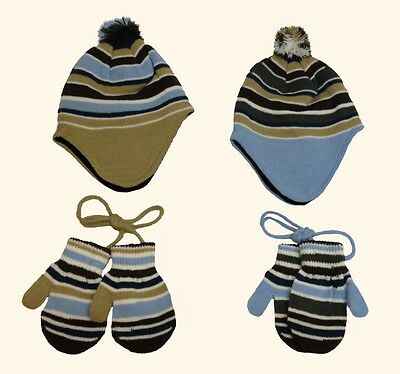 Baby Childrens Girls Boys Winter Blue Brown Hat & Mitten 2 Piece Set One Size UK