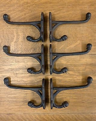 "6 SMALL BROWN 5.5"" CAST IRON HARNESS HOOKS RUSTIC ANTIQUE-STYLE barn coat hat"