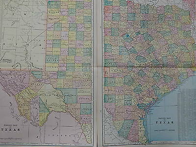 Map, United States Texas, 2 Page George F. Cram Double-Sided