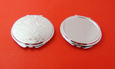 60 MM Blank DIY Portable Metal cosmetic Compact Mirror cute TWO side