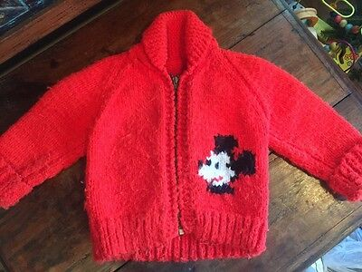 True Vintage 1960s Hand Knit Mickey Mouse Disney Zip Up Sweater 3t 4t