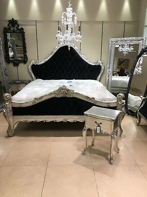 Mahogany Silver Leaf Black Velvet French Ornate Boudior Double size Bed 4ft 6
