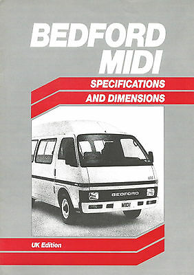 Bedford Midi Launch Specifications & Dimensions Brochure B2199 01.85 (Uk)