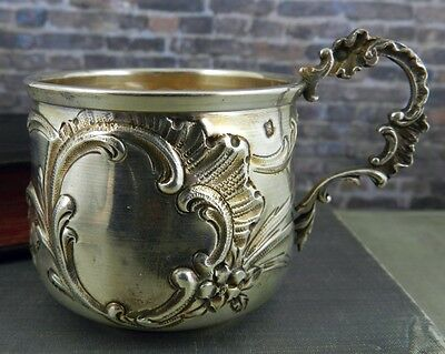 Ornate French Silver Cup w/ Handle