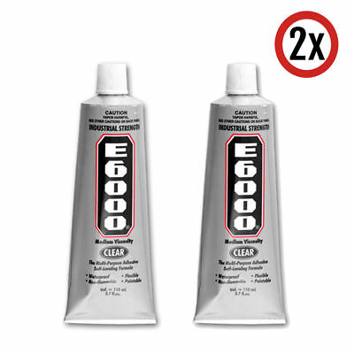 2x 110ml E-6000 Glue with Tip Adhesive Pendant Jewellery Art Craft Clear E6000