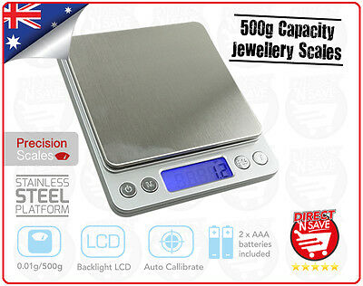 Pocket Precision Electronic Digital Scale Jewellery Stainless Steel 500g/0.01g