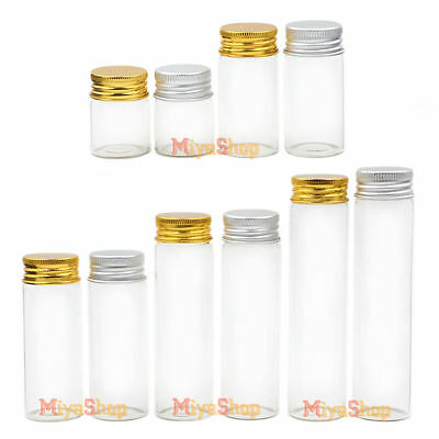 Clear Glass Bottle Gold Silver Screw Thread Aluminum lid Container Borosilicate