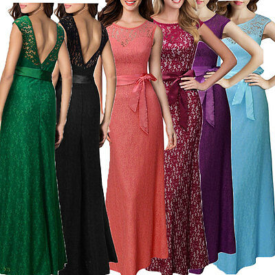 Womens Formal Long Prom Ball Gown Party Evening Bridesmaid Dresses Stock 8-18