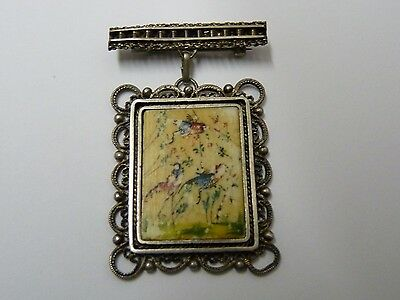 Vintage Palestine Marked Silver Brooch Pin w/ Miniature Persian Painting 3.5x2.8