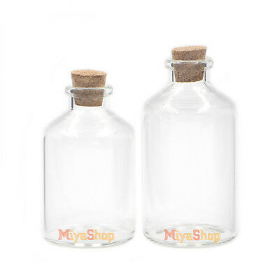 Clear Glass Bottle With Cork Lid Container Borosilicate Diameter Of 40mm Empty