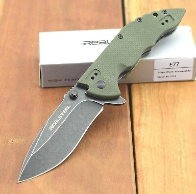 Real Steel Folding Pocket Knife Tactical Thumb Stud Opener 8Cr14MoV E77 5113