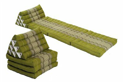 2x Triangle Mat bed pair Kapok Thai green 3-fold Chill boho Daybed lounge