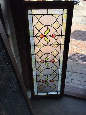 St 383 Antique Triple Sprout Stained Glass Transom Window
