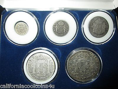 SET OF 5 SILVER SPANISH REALES - 1/2, 1, 2, 4, & 8 REALE in Velvet Display Box
