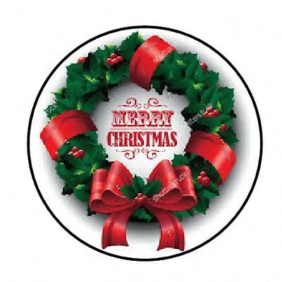 "48 Merry Christmas Wreath Envelope Seals Labels Stickers 1.2"" Round"