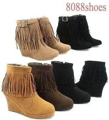 New Women FCL Tan Black Taupe Fringe Moccasin Knee High Western Long Boots