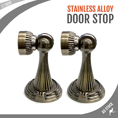2x Door Stop Stopper Holder Brass Bronze Coasted Stainless Steel Magnetic
