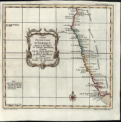 Western Coast of Africa c.1740 antique engraved hand color map