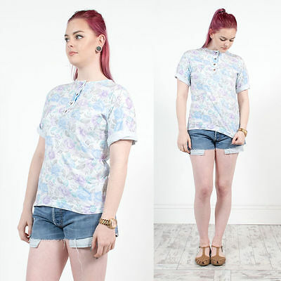 Womens Vintage Floral Pastel Purple And Blue Button Crew Neck Tshirt 14