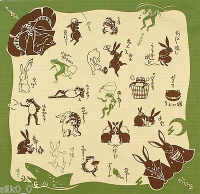 FUROSHIKI - PLAYFUL ANIMALS SCROLL COLLECTION / Cotton / 50cm / Made in Japan
