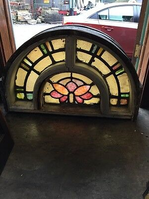 Sg 386 Antique Art Nouveau Stainglass Arch Window In 8 Inch Frame