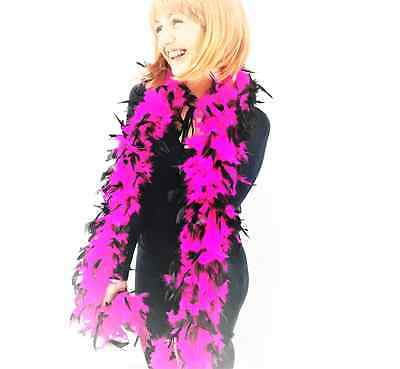 85G High Quality Thick Pink &Black Feather Boa Fancy Dress Luxury Burlesque 1.9M