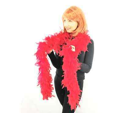 85G High Quality Thick Red Feather Boa Fancy Dress Luxury Burlesque 1.9M