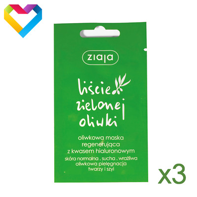 3 X Ziaja Face Mask Regenerating With Olive Leaf And Hyaluronic Acid Z00364 7 Ml