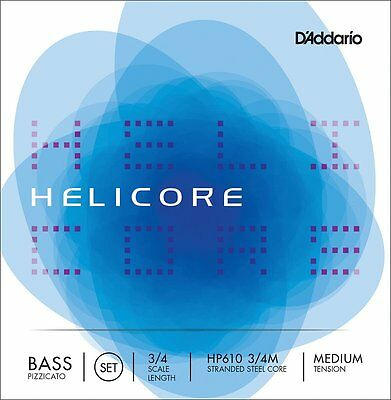 D'Addario HP610 3/4M Scale Bass Strings. Helicore Stranded Steel Core Pizzicato