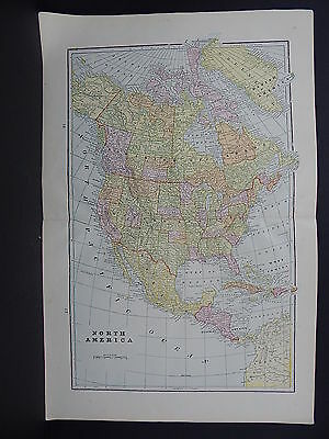Map, North America, 1899 George F. Cram Double Sided S4#01
