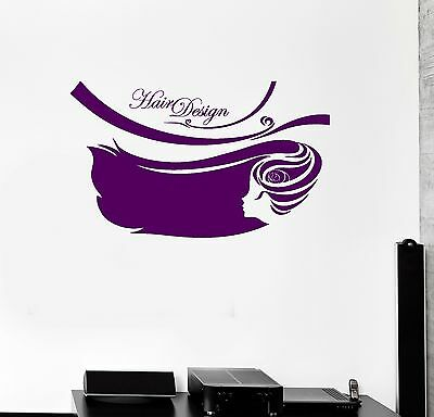 Vinyl Decal Hair Design Beauty Salon Barbershop Hairdresser Wall Sticker (125ig)