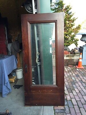 At 7 Antique Oak Entrance Door Full View Beveled Glass