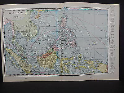Map, East Indies Australia 1899 George F. Cram Double Sided W18#55