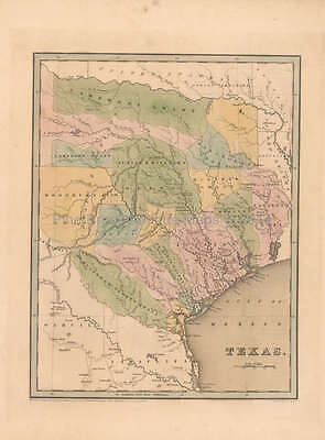 Republic of Texas Antique Map Bradford 1838 Original