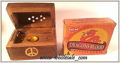 One Asst Wooden Small Coffin Incense Burner & 1 Box Of Dragon Blood Cone Incense