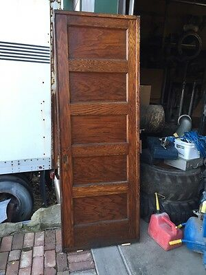 "A R 20 Antique Five Panel Single Oak Pocket Door 30"" X 84"