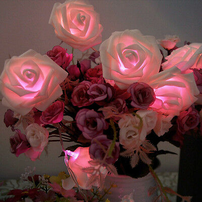 20LED Rose Flower Valentine's Fairy Wedding Party Christmas Decor String Lights