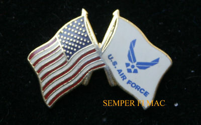 Us & Us Air Force Battle Flag Lapel Hat Pin Up Usaf Veteran Gift Afb Usa Colors