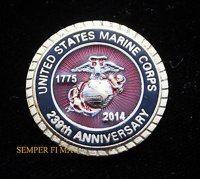 2014 US MARINES 239th ANNIVERSARY BIRTHDAY BALL PIN PROMOTION GRADUATION GIFT
