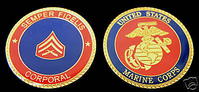 Corporal Cpl Challenge Coin Us Marines Usmc E-4 Enlisted Promotion Pin Up Gift