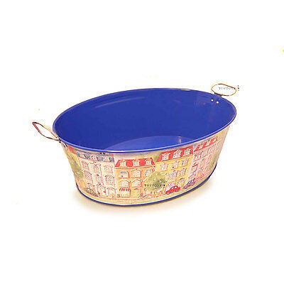 Decorative Oval Tin Bucket 'Streetview', Planter, Tin Toy Bucket