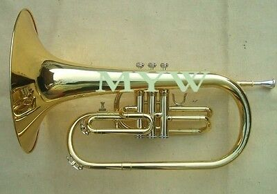 Mellophone kit F key brass body gold lacquer case mouthpiece cloths gloves new