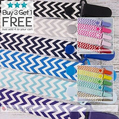 22mm Chevron Colour Clips Zig Zag Dummy Clip - Pacifier Clips -Chain - Baby Gift